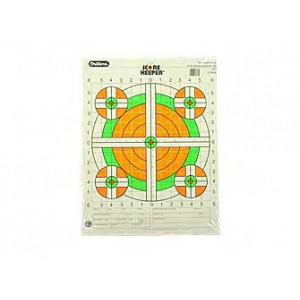 Champion Traps & Targets Fluorescent Orange/green Bullseye Scorekeeper Target, 100 Yard Rifle Sight-in, 12 Pack 45761