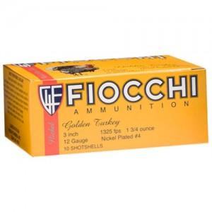 "Fiocchi Ammunition Turkey Shotshells .12 Gauge (3"") 4 Shot Nickel-Plated Lead (10-Rounds) - 123TRK4"