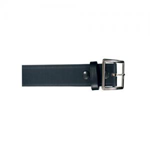 Boston Leather Stitched Edge Garrison Belt in Black Plain - 42