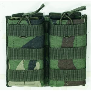M4/M16 Open Top Mag Pouch w/ Bungee System Color: Woodland Camo Magazine Capacity: Double