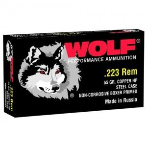 Wolf Performance Ammo .223 Remington/5.56 NATO Bimetal Jacket, 55 Grain (20 Rounds) - 22355HP