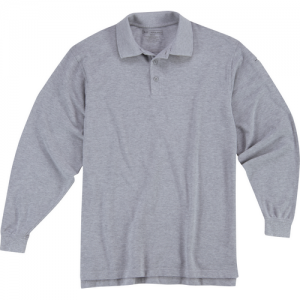 5.11 Tactical Utility Men's Long Sleeve Polo in Heather Grey - 2X-Large