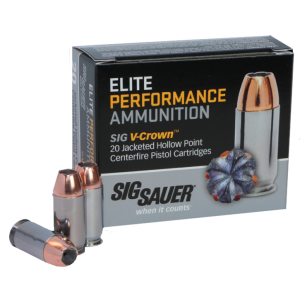 Sig Sauer V-Crown .38 Super Jacketed Hollow Point, 125 Grain (20 Rounds) - E38SU1-20