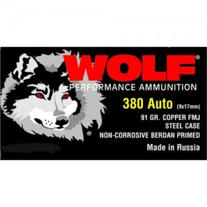 Wolf Performance Ammo .380 ACP Full Metal Jacket, 91 Grain (1000 Rounds) - 917FMJ