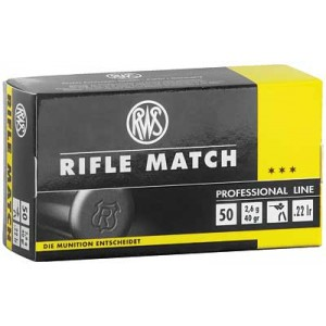 Umarex Firearms RWS Ammunition .22 Long Rifle Lead Round Nose, 40 Grain (50 Rounds) - 2134225