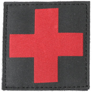 RED CROSS ID PATCH  Red Cross ID Patch Black Smooth embroidery, not printed Easily mounts to any MOLLE/S.T.R.I.K.E. gear using ID Panel Base,38CL42 (not included); can also be sewn directly on clothing or gear Hook backing with loop panel included Custom