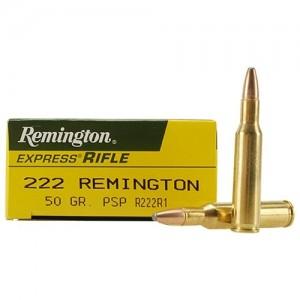 Remington Standard .222 Remington Pointed Soft Point, 50 Grain (20 Rounds) - R222R1