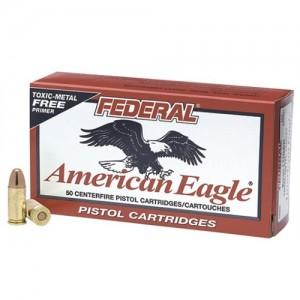 Federal Cartridge American Eagle 9mm Total Metal Jacket, 147 Grain (50 Rounds) - AE9N2