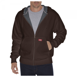 Dickies Thermal Lined Fleece Men's Full Zip Hoodie in Dark Brown - 3X-Large