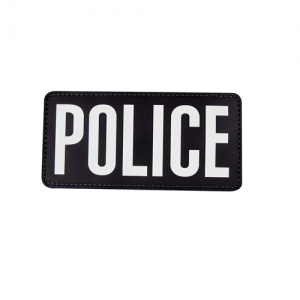 MORALE PATCH, POLICE BLK W/ WHT LETTERS, 6  x 3
