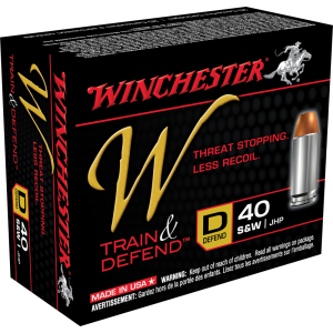 Winchester W Train & Defend .40 S&W Jacketed Hollow Point, 180 Grain (20 Rounds) - W40SWD