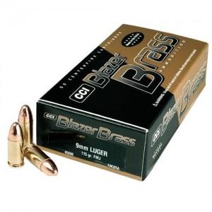 CCI Speer Blazer 9mm Full Metal Jacket, 115 Grain (50 Rounds) - 5200