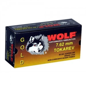 Wolf Performance Ammo Gold 7.62X25 Tokarev Jacketed Hollow Point, 85 Grain (50 Rounds) - G762TOKHP1