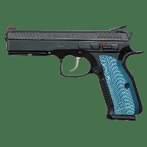 """CZ 75 Shadow II 9mm 17+1 4.8"""" Pistol in Black Polycoat (Blue Aluminum Grips) - 91257"""