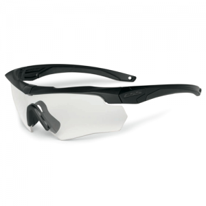 One Black Crossbow frame w/interchangeable Clear Lens.  Microfiber cleaning pouch & elastic retention strap