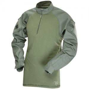 Tru Spec Combat Shirt Men's 1/4 Zip Long Sleeve in OD Green - Large