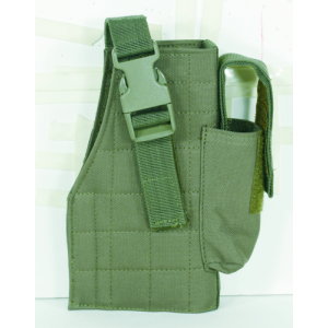 Tactical Molle Holster w/ Attached Mag Pouch Color: OD Green Hand: Right Handed - 25-0029004001