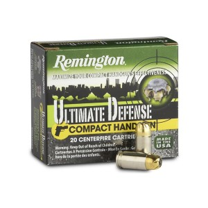 Remington Compact .380 ACP Brass Jacket Hollow Point, 102 Grain (20 Rounds) - CHD380BN