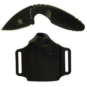 "Ka-Bar Knives TDI Law Enforcement Fixed Knife, 2.3125"" Drop-point Aus 8A/Black Plain Blade (Black Zytel Handle) - 1480"