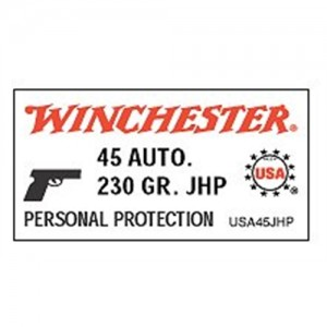 Winchester .45 ACP Jacketed Hollow Point, 230 Grain (50 Rounds) - USA45JHP