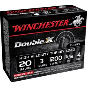 """Winchester Supreme Double X Turkey .20 Gauge (3"""") 4 Shot Lead (10-Rounds) - STH2034"""