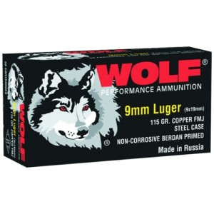 Wolf Performance Ammo 9mm Full Metal Jacket, 115 Grain (500 Rounds) - 919FMJ