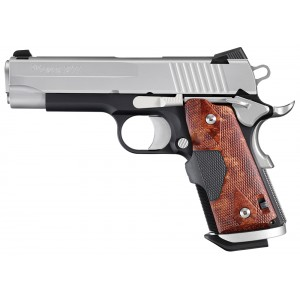 """Sig Sauer 1911 Compact .45 ACP 6+1 4.2"""" 1911 in Two Tone Black Nitron (Wood Grip) - 1911CO45TSSC"""