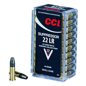 CCI Speer Subsonic .22 Long Rifle Subsonic Hollow Point, 45 Grain (50 Rounds) - 957