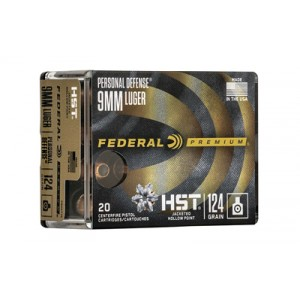 Federal Premium HST3 Personal Defense 9mm Jacketed Hollow Point, 124 Grain (50 Rounds) - P9HST3