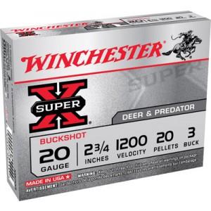 "Winchester Super-X .20 Gauge (2.75"") 3 Buck Shot Lead (5-Rounds) - XB203"