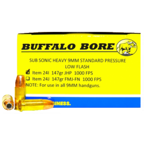 Buffalo Bore Ammunition 9mm Jacketed Hollow Point, 147 Grain (20 Rounds) - 24I/20