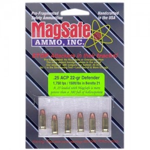 MagSafe 25 ACP 22 Grain Pre-Fragmented Bullet, 8 Round Package, 25D