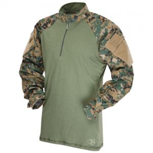Tru Spec Combat Shirt Men's 1/4 Zip Long Sleeve in Woodland Digital - Medium
