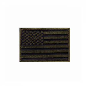 Patch, American flag ,subdued    Patch, American flag ,subdued w/hook & loop Olive Drab, Black Embroidered with matching border Come with hook & loop for quick on-off capability 2 X 3