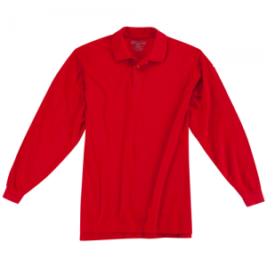5.11 Tactical Utility Men's Long Sleeve Polo in Range Red - Small