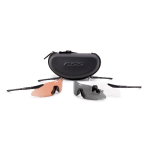 ICE 2X+ Deluxe Kit (Medium/Large Fit) - Black frames. Two fully-assembled eyeshields: (1) w/Clear lens & (1) w/Hi-Def Copper lens, and (1) extra Smoke Gray lens. Anti-fog solution, microfiber cleaning pouch, zippered hard case & elastic retention strap