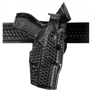 "ALS Level III Duty Holster Finish: Plain Black Gun Fit: Smith & Wesson M&P .40 (with/Without Thumb Safety) (4.5 "") Hand: Right Option: Hood Guard Size: 2.25 - 6360-219-61"