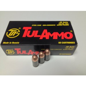 TulAmmo .45 ACP Full Metal Jacket, 230 Grain (50 Rounds) - TA452300