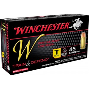 Winchester Ammunition W Train & Defend .45 ACP Full Metal Jacket, 230 Grain (50 Rounds) - W45T