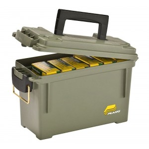 "Plano Molding Co Ammo Can Holds 6-8 Boxes O-Ring Water-Resistant Seal 11.63"" x 5.13"" x 7.13"" Polyethylene Olive Drab Finish 131200"