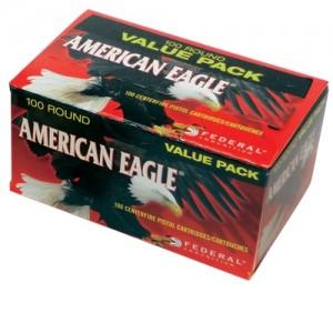 Federal Cartridge American Eagle 9mm Full Metal Jacket, 115 Grain (100 Rounds) - AE9DP100