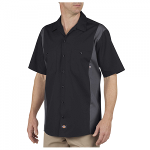 Dickies Two-Tone Industrial Shirt Men's Uniform Shirt in Black/Charcoal - Medium
