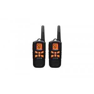 Olympia R-series Two Way Radio, 42 Mile Radio, 50 Channels, Noaa Weather, Micro-usb Charging, Ip67 Waterproof, Floats, Flashlight, Black/orange R500