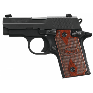 """Sig Sauer P238 Micro-Compact Rosewood MA Compliant .380 ACP 6+1 2.7"""" Pistol in Black Nitron (Rosewood Grip) - 238M380RG"""