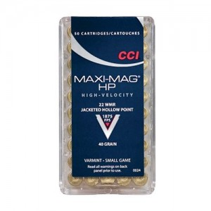 CCI 22 Winchester Magnum Rimfire 40 Grain Jacketed Hollow Point, 50 Round Box, 0024