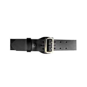 Boston Leather Fully Lined Sam Browne Belt in Black Basket Weave - 44