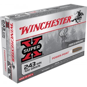 Winchester Super-X .243 Winchester Power-Point, 100 Grain (20 Rounds) - X2432