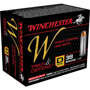 Winchester W Train & Defend .38 Special Jacketed Hollow Point, 130 Grain (20 Rounds) - W38SPLD