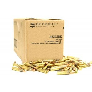 Federal Cartridge American Eagle Target .223 Remington/5.56 NATO Full Metal Jacket Boat Tail, 55 Grain (1000 Rounds) - AE223BK