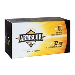 Armscor .32 ACP Full Metal Jacket, 71 Grain (50 Rounds) - FAC32ACP-1N